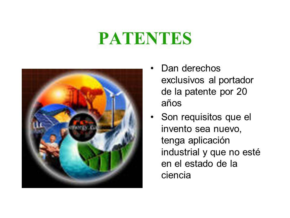 PATENTES Dan derechos exclusivos al portador de la patente por 20 años
