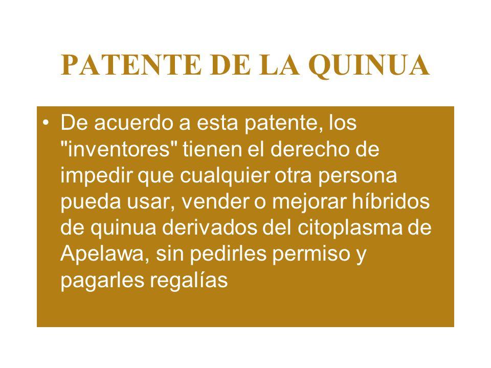 PATENTE DE LA QUINUA