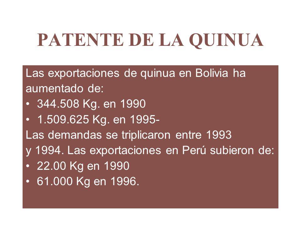 PATENTE DE LA QUINUA Las exportaciones de quinua en Bolivia ha