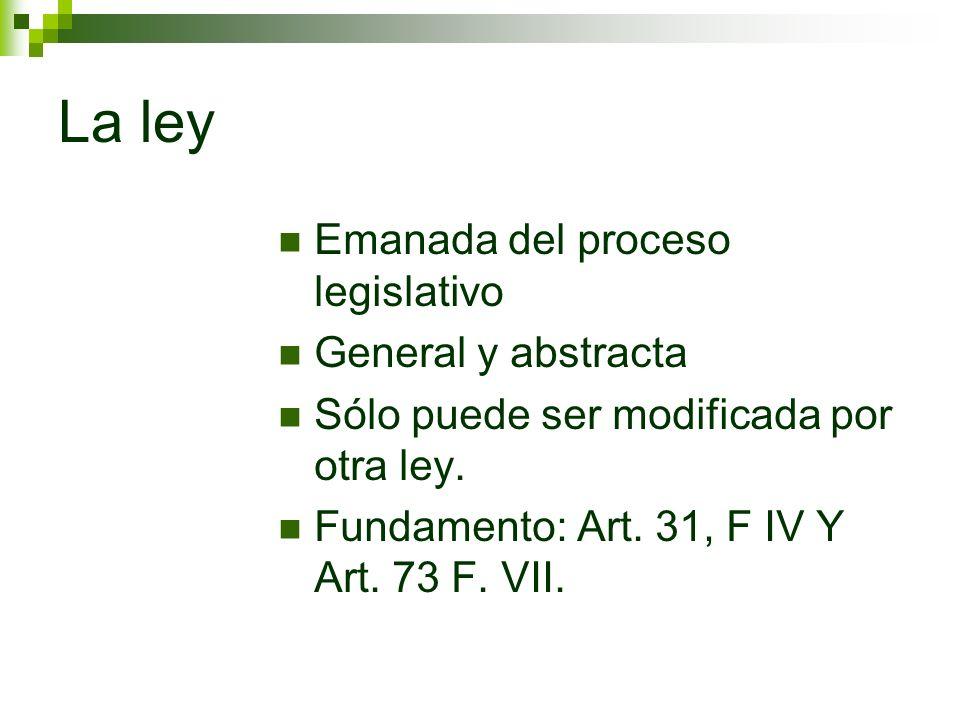 La ley Emanada del proceso legislativo General y abstracta