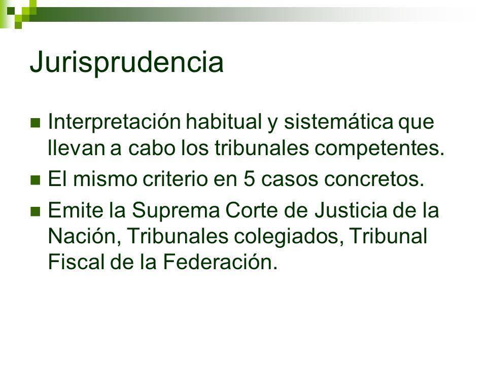 Jurisprudencia Interpretación habitual y sistemática que llevan a cabo los tribunales competentes. El mismo criterio en 5 casos concretos.