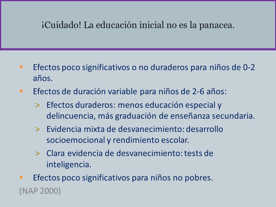 ¡Cuidado! La educación inicial no es la panacea.