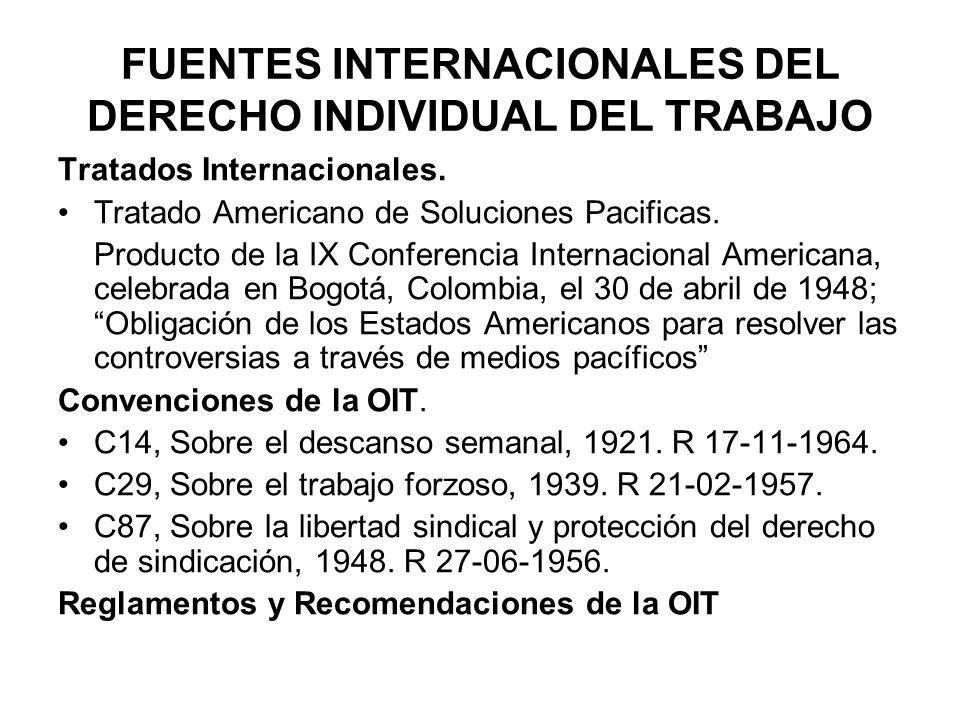 FUENTES INTERNACIONALES DEL DERECHO INDIVIDUAL DEL TRABAJO
