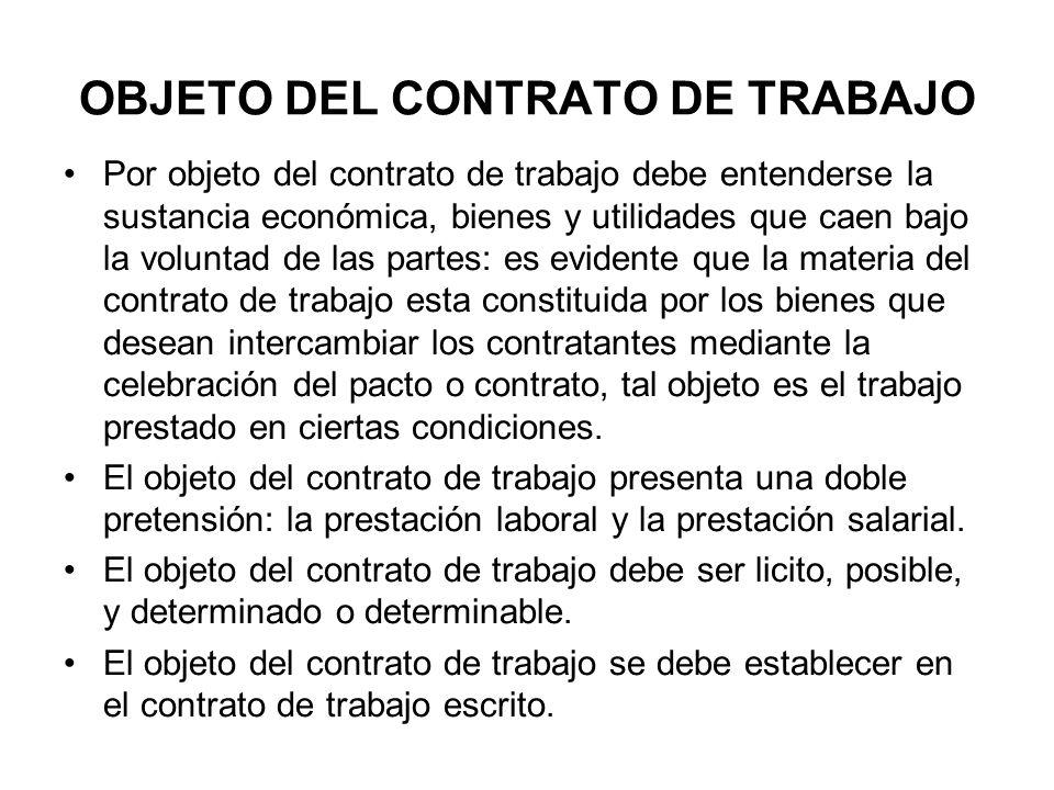 OBJETO DEL CONTRATO DE TRABAJO