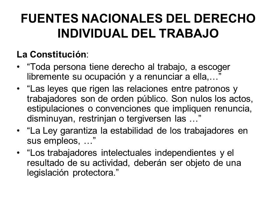 FUENTES NACIONALES DEL DERECHO INDIVIDUAL DEL TRABAJO