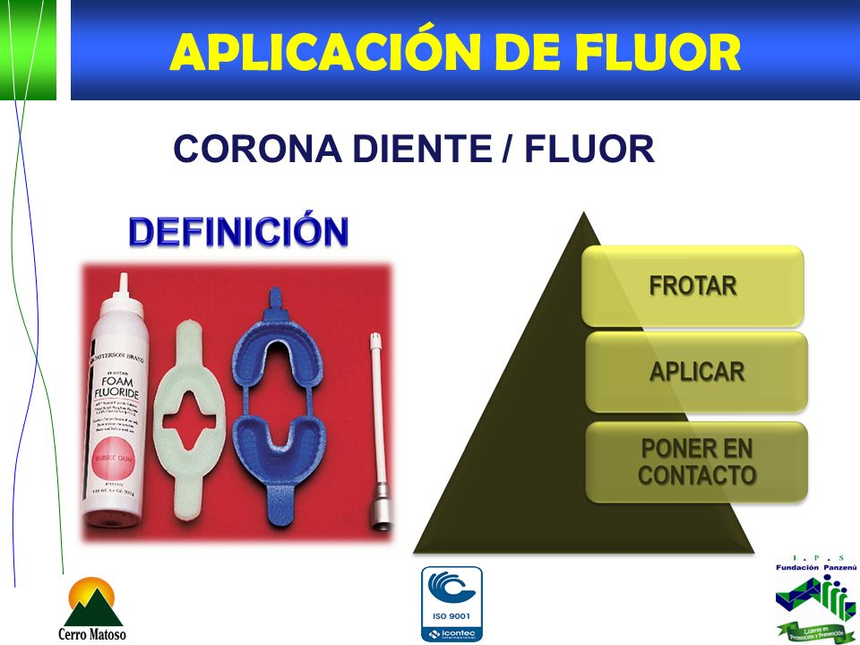 APLICACIÓN DE FLUOR CORONA DIENTE / FLUOR