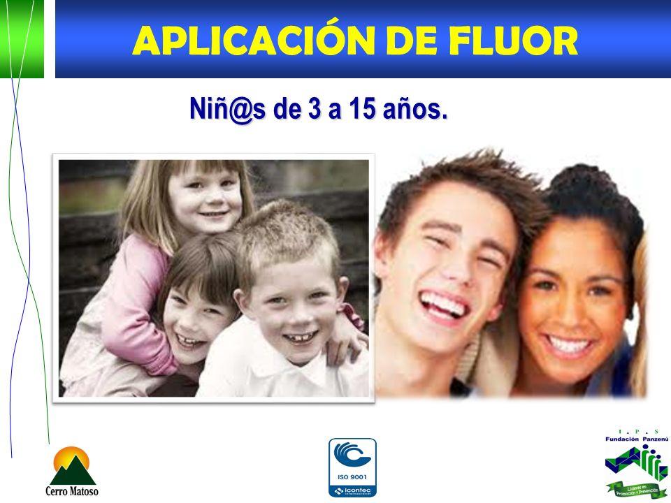 APLICACIÓN DE FLUOR Niñ@s de 3 a 15 años.
