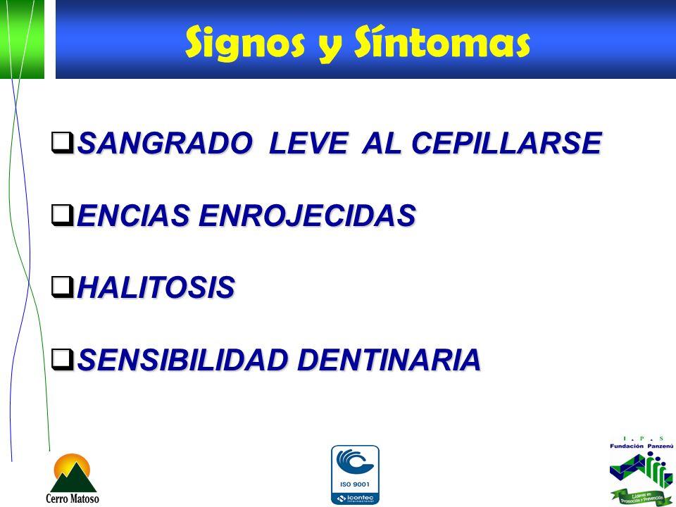 Signos y Síntomas SANGRADO LEVE AL CEPILLARSE ENCIAS ENROJECIDAS