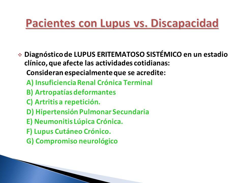 Pacientes con Lupus vs. Discapacidad