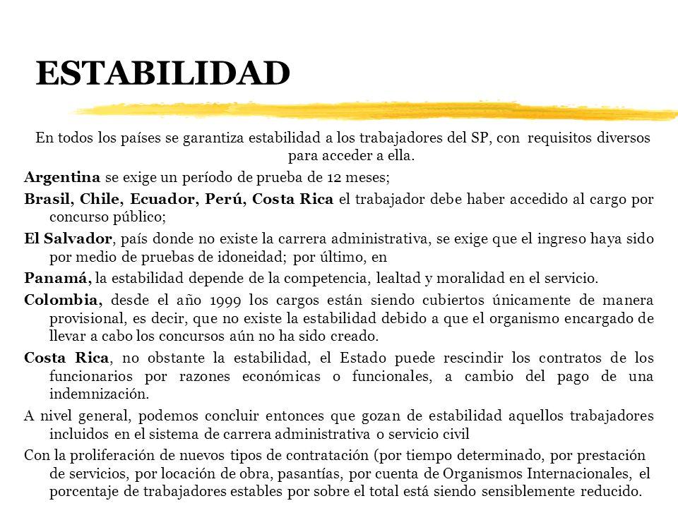 ESTABILIDAD En todos los países se garantiza estabilidad a los trabajadores del SP, con requisitos diversos para acceder a ella.