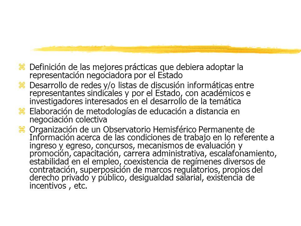 Definición de las mejores prácticas que debiera adoptar la representación negociadora por el Estado