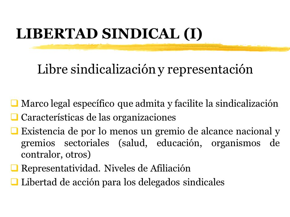 Libre sindicalización y representación