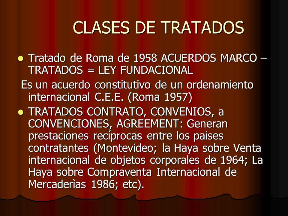 CLASES DE TRATADOS Tratado de Roma de 1958 ACUERDOS MARCO –TRATADOS = LEY FUNDACIONAL.