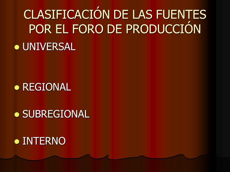 CLASIFICACIÓN DE LAS FUENTES POR EL FORO DE PRODUCCIÓN