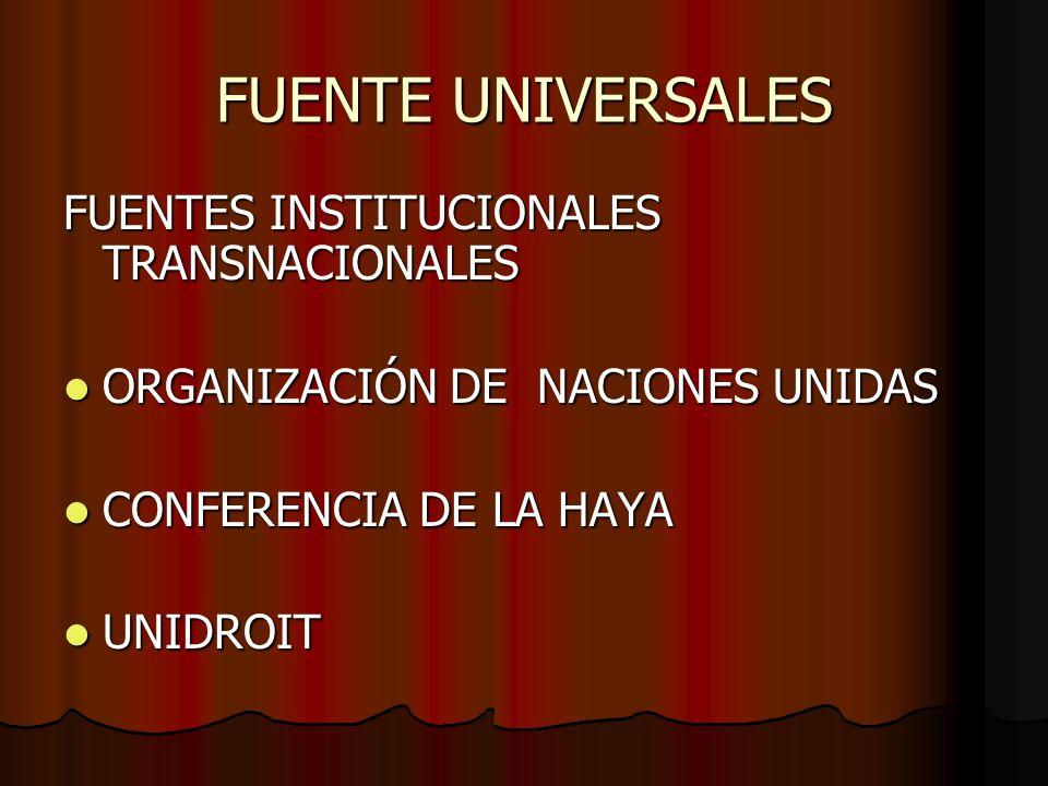 FUENTE UNIVERSALES FUENTES INSTITUCIONALES TRANSNACIONALES