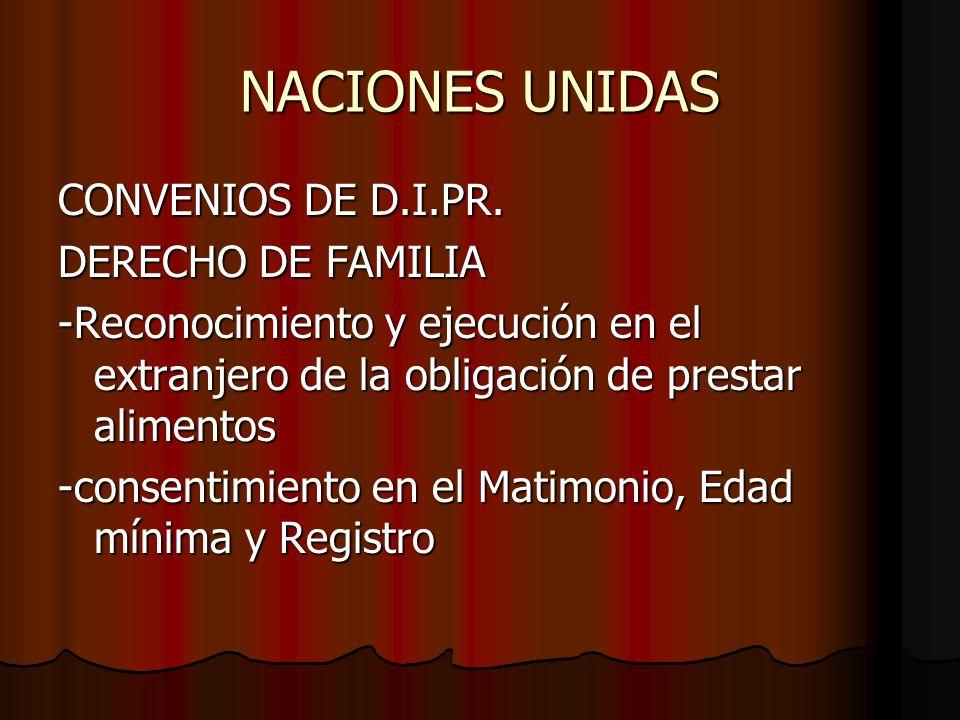 NACIONES UNIDAS CONVENIOS DE D.I.PR. DERECHO DE FAMILIA