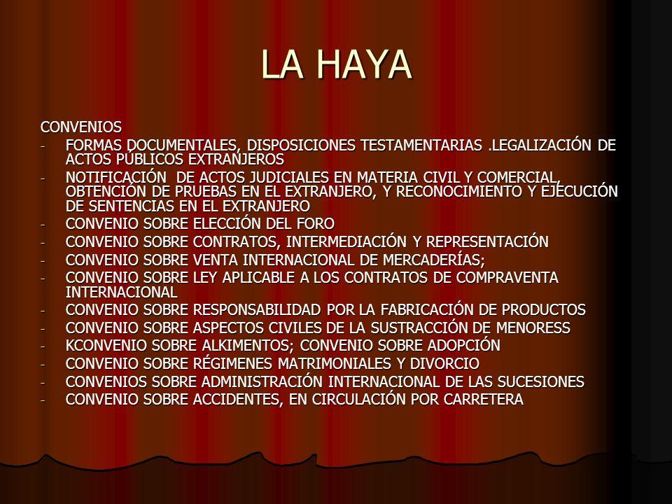 LA HAYA CONVENIOS. FORMAS DOCUMENTALES, DISPOSICIONES TESTAMENTARIAS .LEGALIZACIÓN DE ACTOS PÚBLICOS EXTRANJEROS.