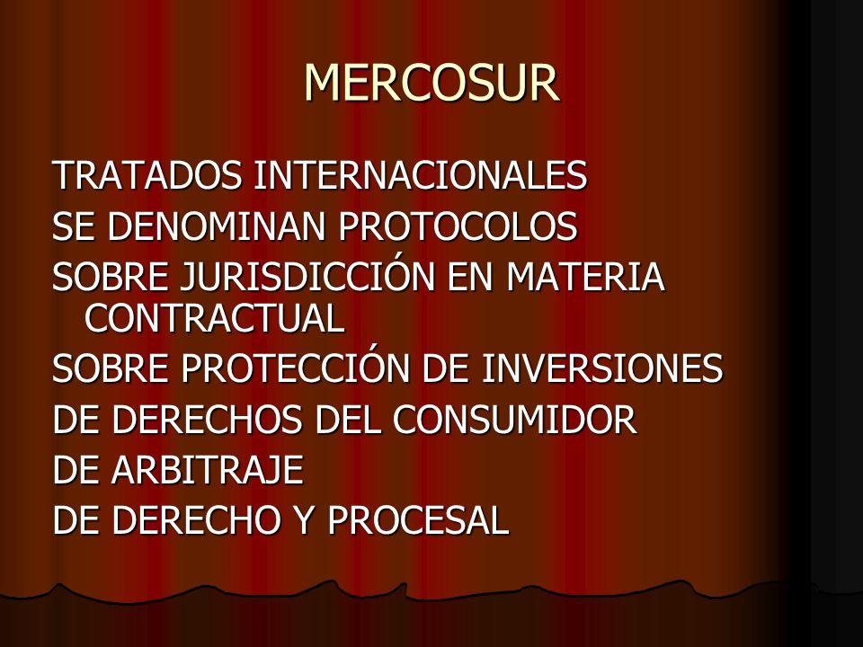 MERCOSUR TRATADOS INTERNACIONALES SE DENOMINAN PROTOCOLOS