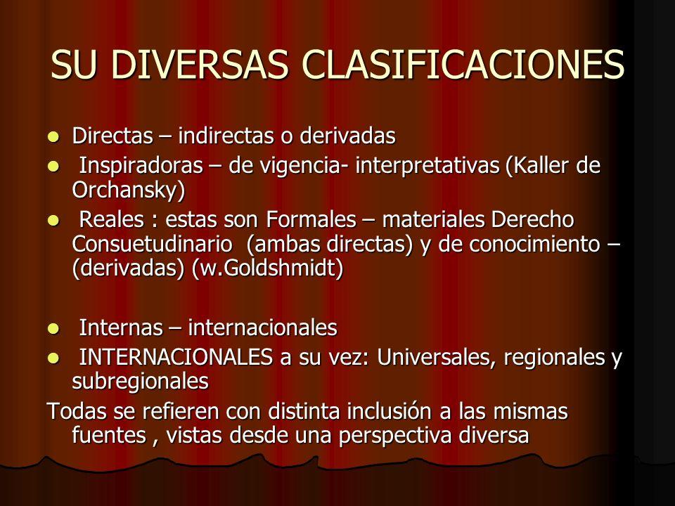 SU DIVERSAS CLASIFICACIONES