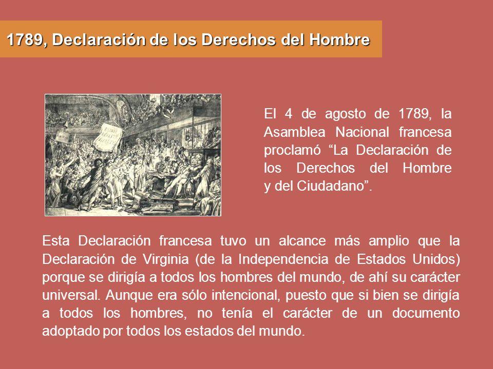 1789, Declaración de los Derechos del Hombre
