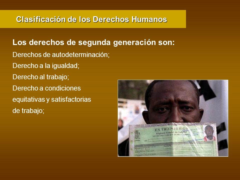 Clasificación de los Derechos Humanos