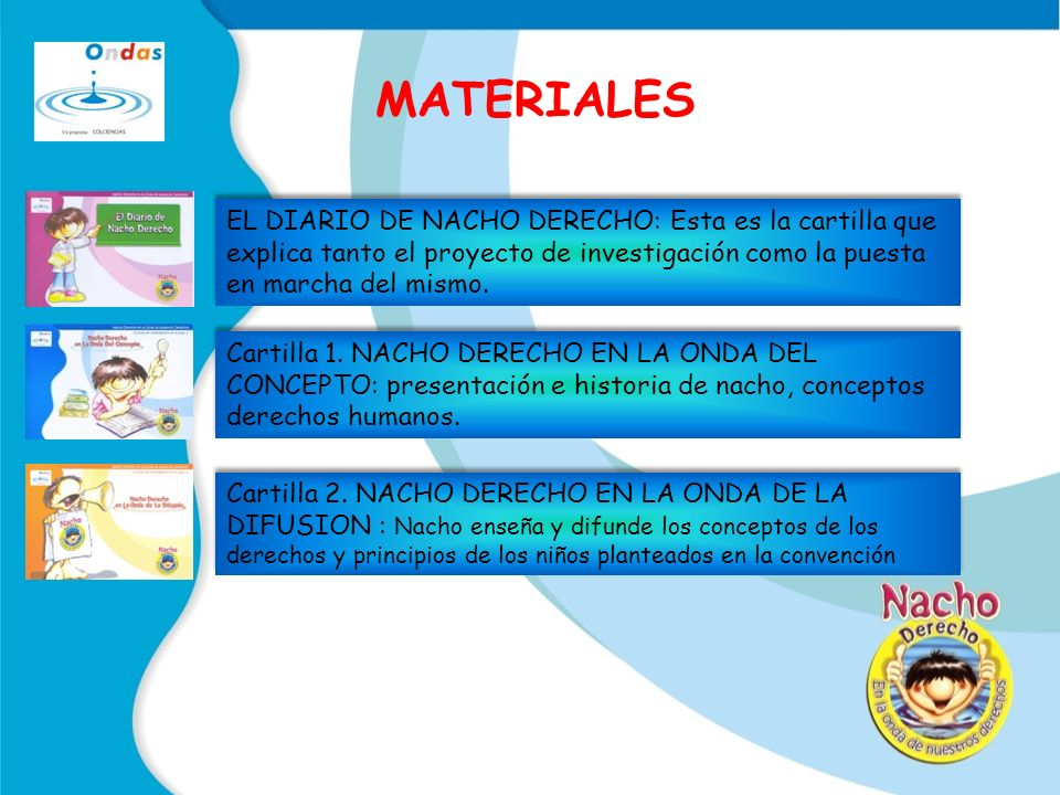 MATERIALES EL DIARIO DE NACHO DERECHO: Esta es la cartilla que explica tanto el proyecto de investigación como la puesta en marcha del mismo.