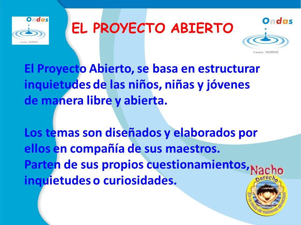 EL PROYECTO ABIERTO El Proyecto Abierto, se basa en estructurar inquietudes de las niños, niñas y jóvenes de manera libre y abierta.
