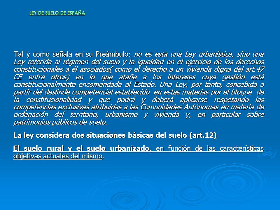 La ley considera dos situaciones básicas del suelo (art.12)