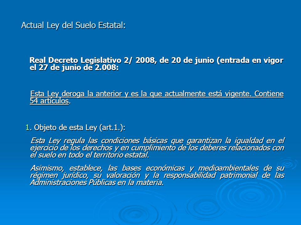 Actual Ley del Suelo Estatal:
