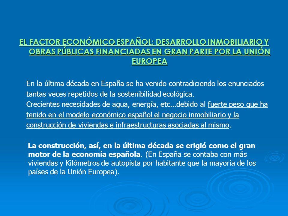 EL FACTOR ECONÓMICO ESPAÑOL: DESARROLLO INMOBILIARIO Y OBRAS PÚBLICAS FINANCIADAS EN GRAN PARTE POR LA UNIÓN EUROPEA