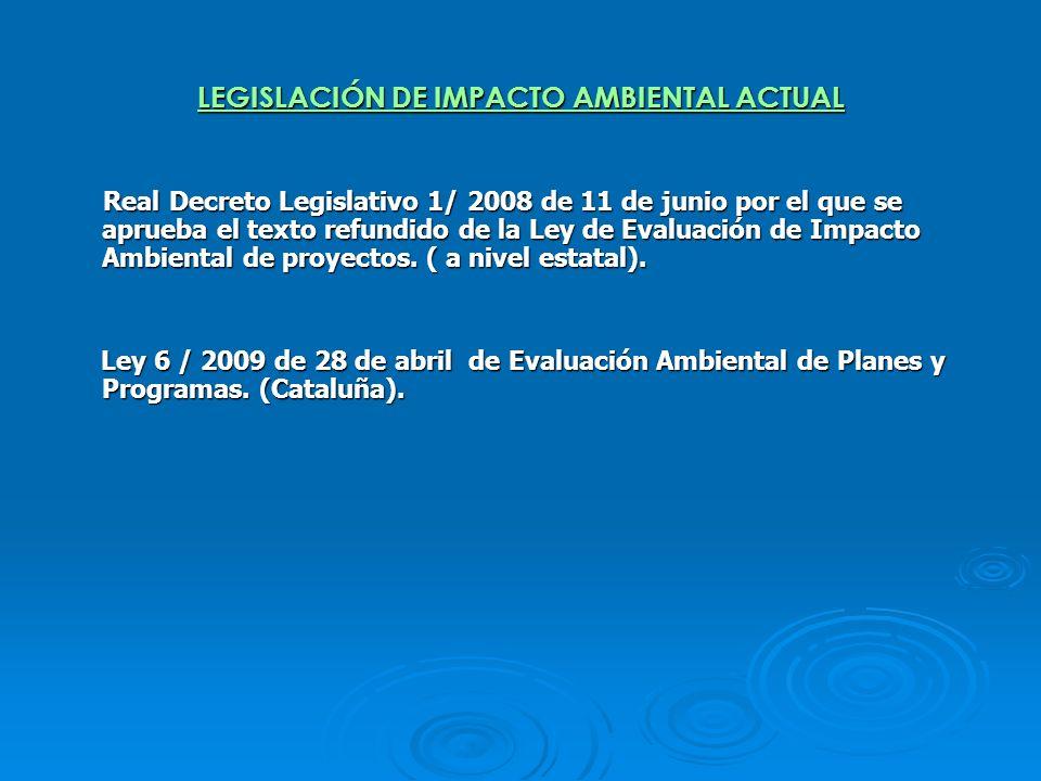 LEGISLACIÓN DE IMPACTO AMBIENTAL ACTUAL