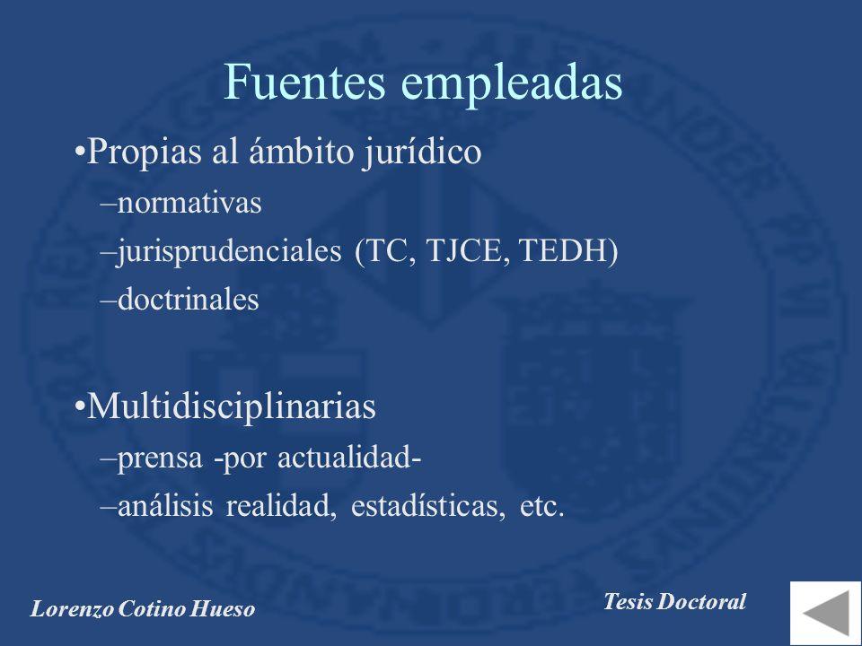 Fuentes empleadas Propias al ámbito jurídico Multidisciplinarias