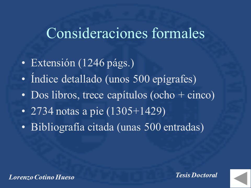 Consideraciones formales