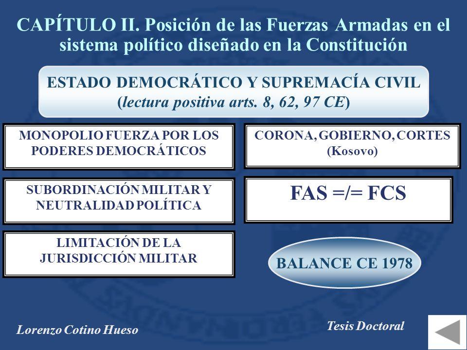 CAPÍTULO II. Posición de las Fuerzas Armadas en el sistema político diseñado en la Constitución