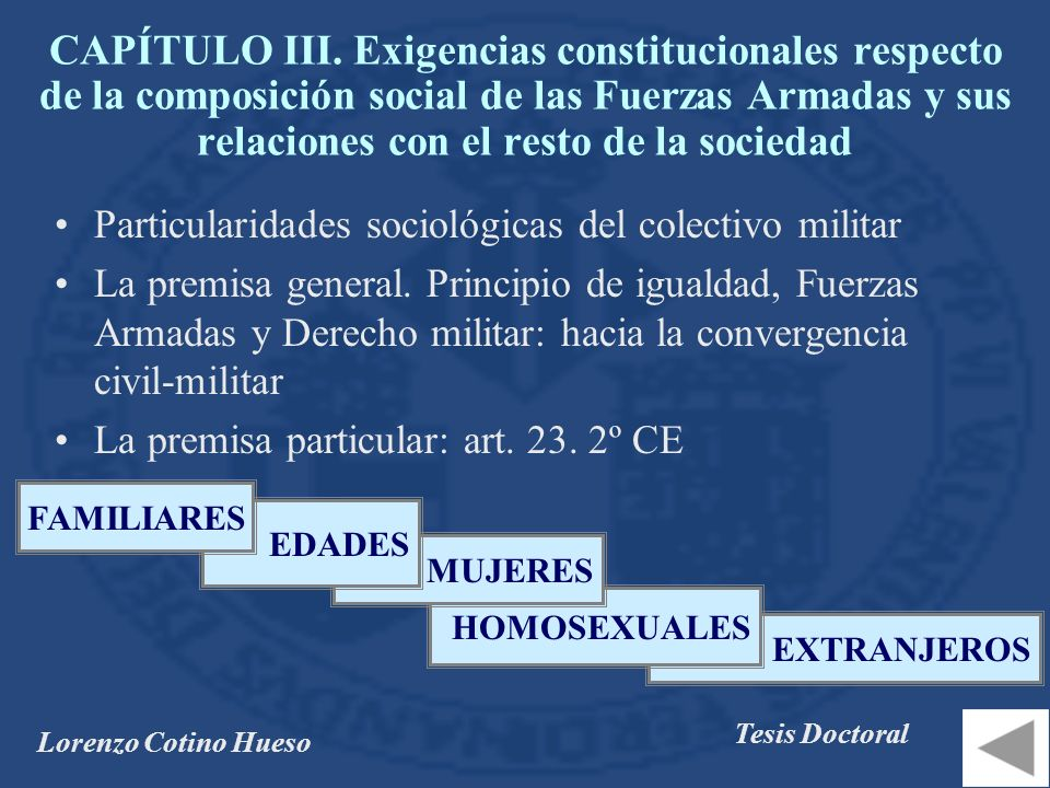 CAPÍTULO III. Exigencias constitucionales respecto de la composición social de las Fuerzas Armadas y sus relaciones con el resto de la sociedad