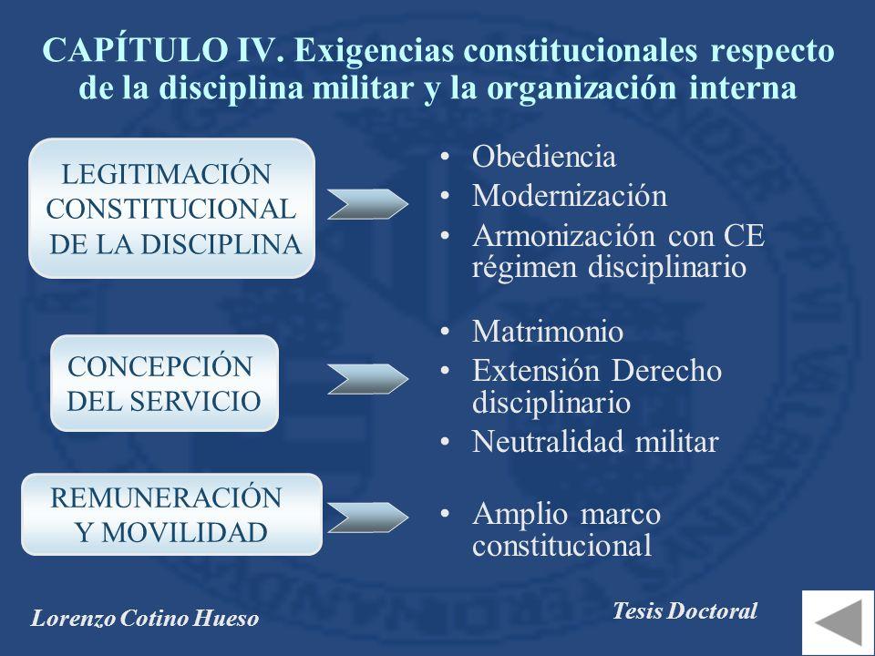 CAPÍTULO IV. Exigencias constitucionales respecto de la disciplina militar y la organización interna
