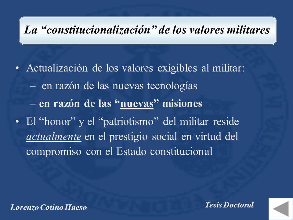 La constitucionalización de los valores militares