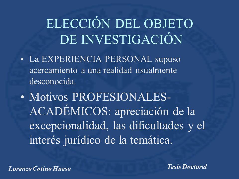 ELECCIÓN DEL OBJETO DE INVESTIGACIÓN