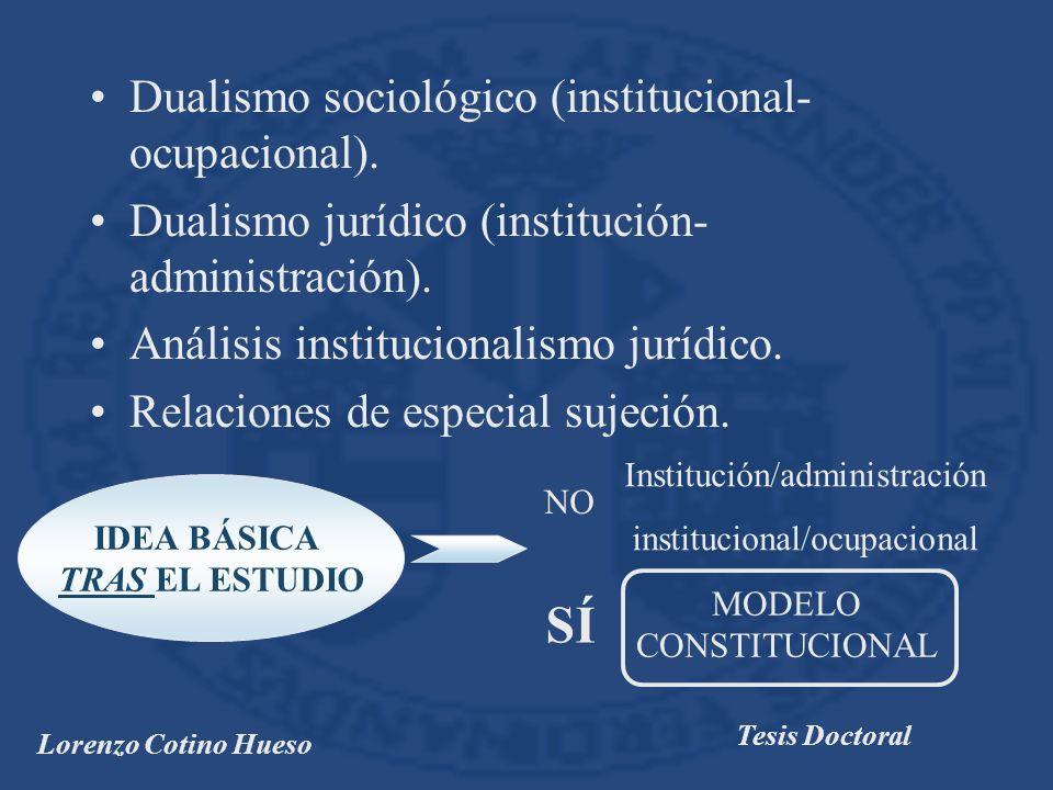 SÍ Dualismo sociológico (institucional-ocupacional).