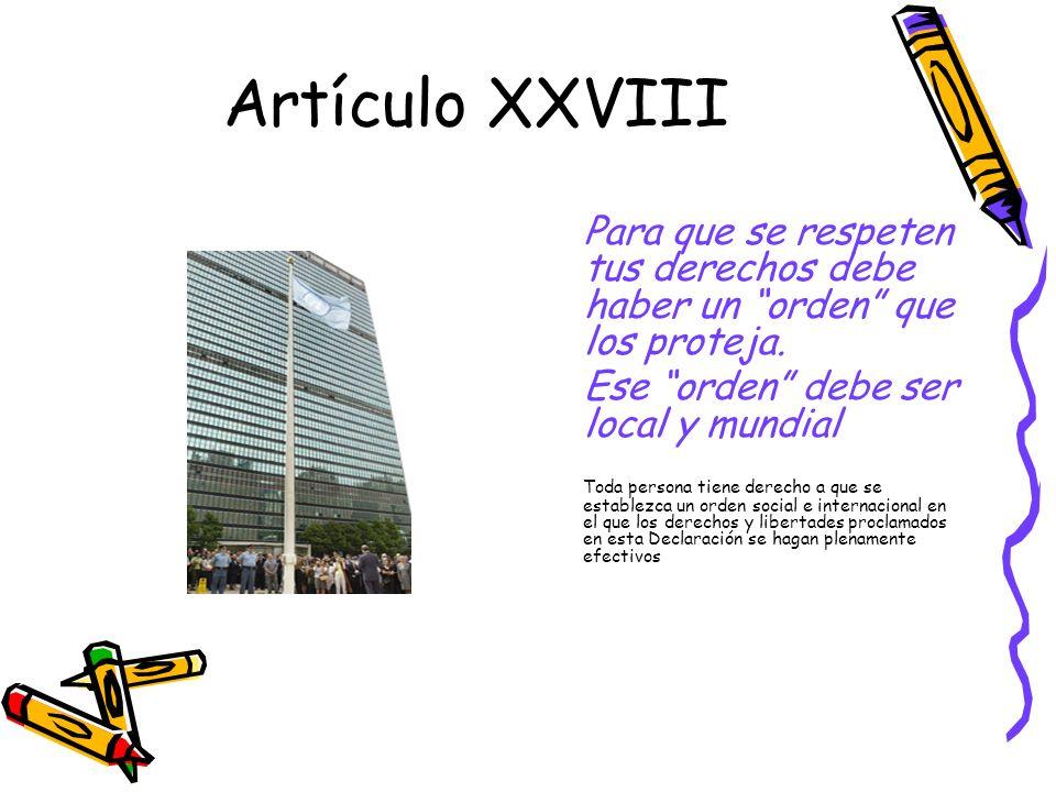 Artículo XXVIII Ese orden debe ser local y mundial