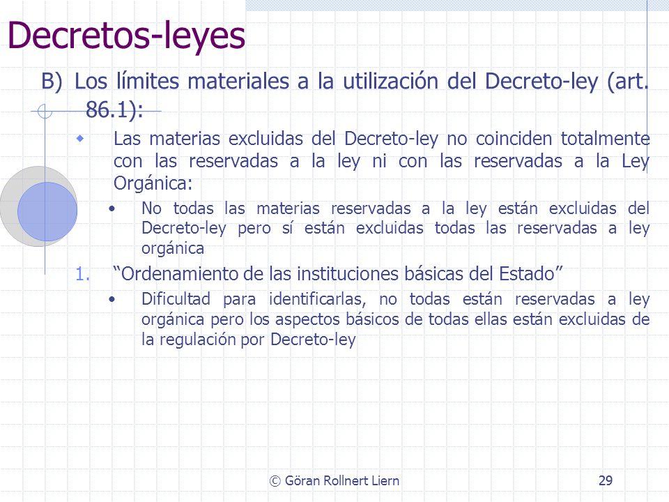 Decretos-leyesB) Los límites materiales a la utilización del Decreto-ley (art. 86.1):