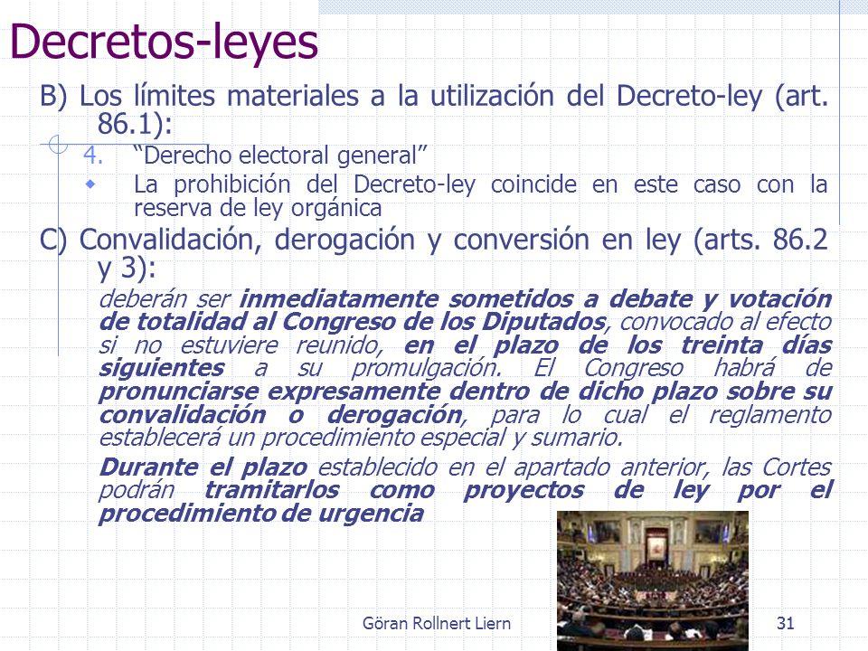 Decretos-leyes B) Los límites materiales a la utilización del Decreto-ley (art. 86.1): Derecho electoral general