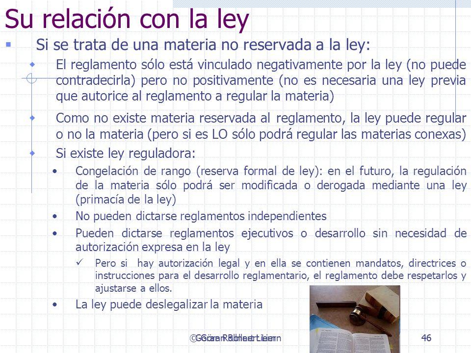 Su relación con la leySi se trata de una materia no reservada a la ley: