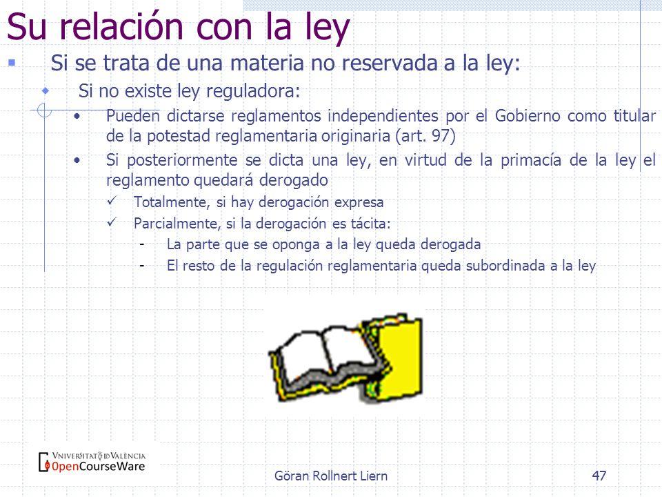 Su relación con la leySi se trata de una materia no reservada a la ley: Si no existe ley reguladora: