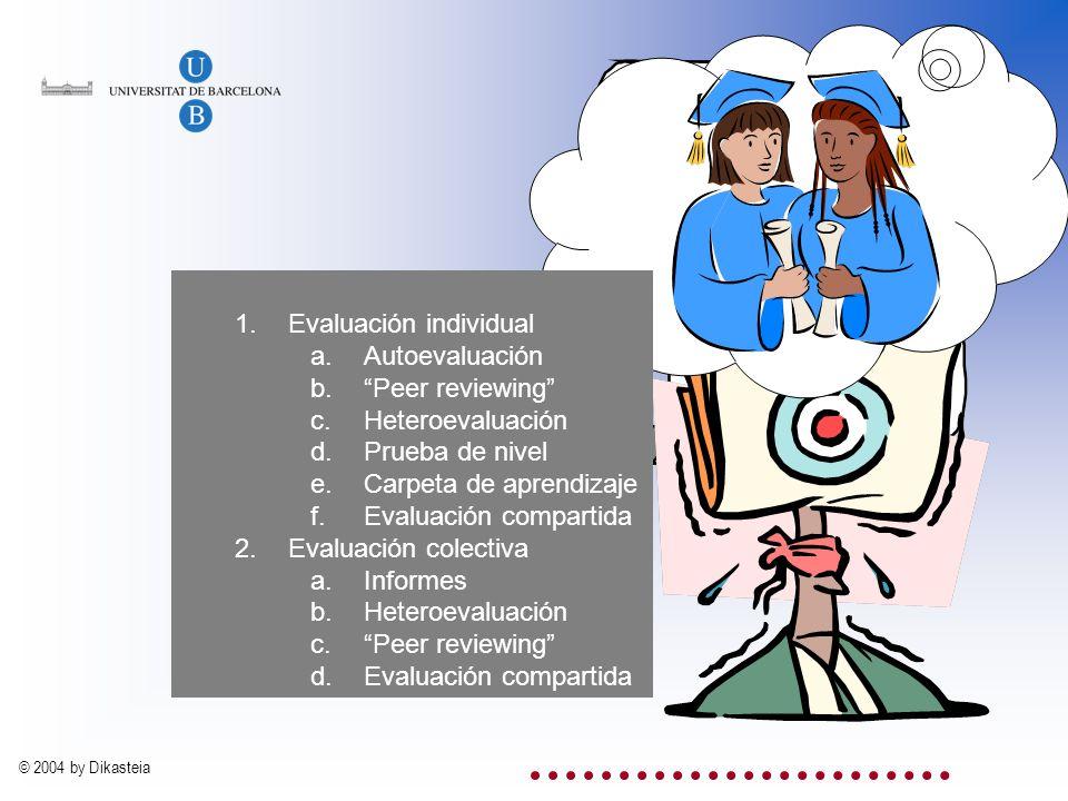 La evaluación Evaluación individual Autoevaluación Peer reviewing