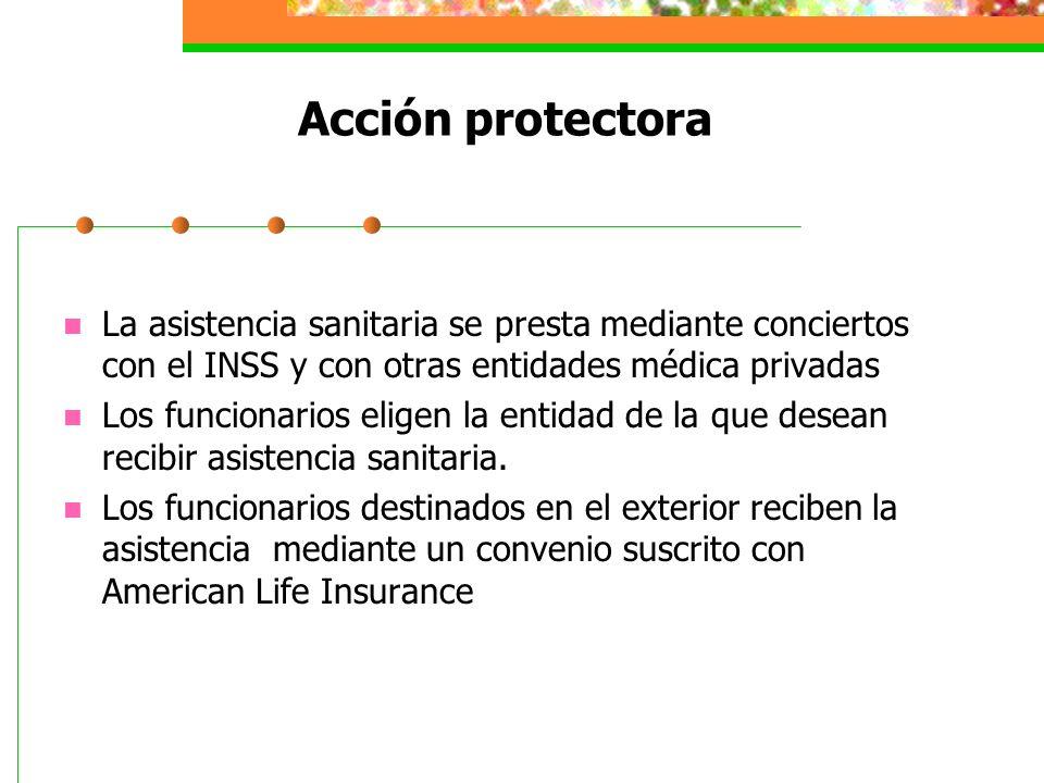 Acción protectora La asistencia sanitaria se presta mediante conciertos con el INSS y con otras entidades médica privadas.