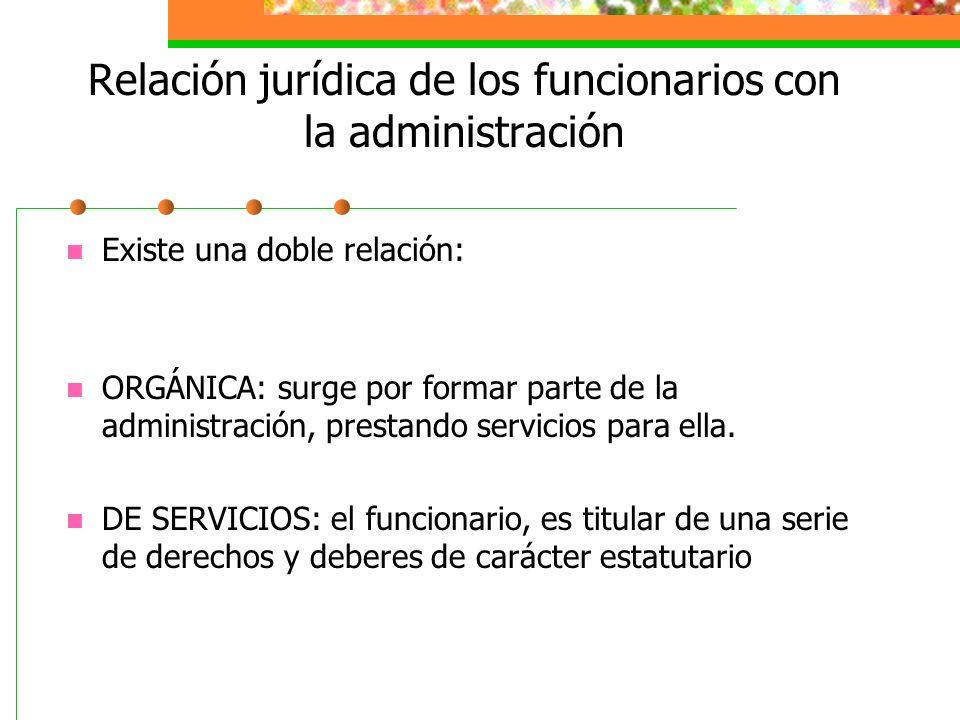 Relación jurídica de los funcionarios con la administración