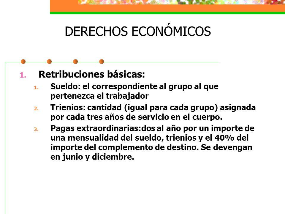 DERECHOS ECONÓMICOS Retribuciones básicas: