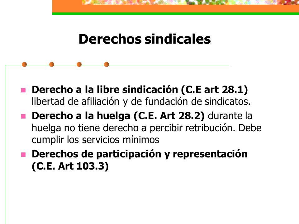 Derechos sindicales Derecho a la libre sindicación (C.E art 28.1) libertad de afiliación y de fundación de sindicatos.
