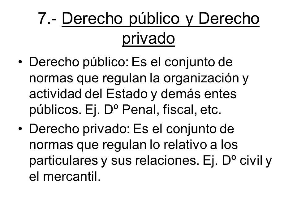 7.- Derecho público y Derecho privado